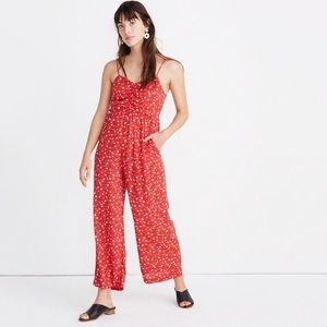 NWT Madewell Ruched Wide Jumpsuit In Prairie Posie